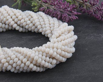 Off White, Faceted  Rondelle Chinese Crystal Beads, Crystal Rondelle Beads, 1 strand-135 pcs // BD-066