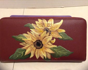 Painted Sunflower wallet / wristlet