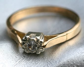 Vintage 18ct 18K Yellow Gold Solitaire Diamond Engagement Ring
