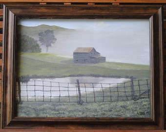 Oil on Canvas Landscape Painting - barn, pond, reflection, grass, field, fence