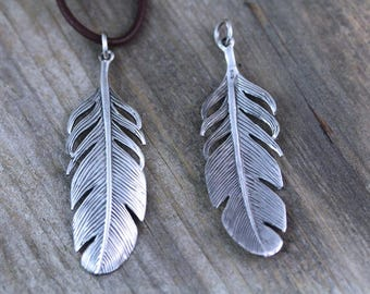 Sterling Silver Feather Necklace, Feather necklace on Sterling silver chain or leather, Silver Large feather necklace, Best seller,