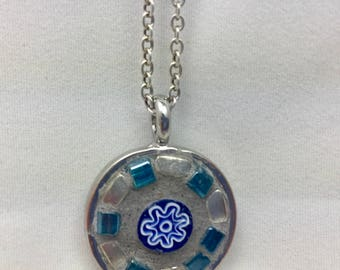"""Round Mosaic Pendant with 18"""" Sterling Silver Chain"""
