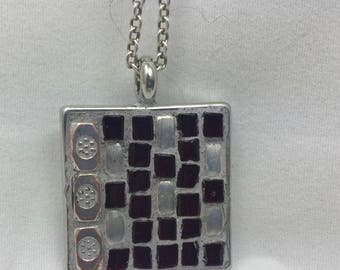 """Square Mosaic Pendant with 18"""" Sterling Silver Chain"""