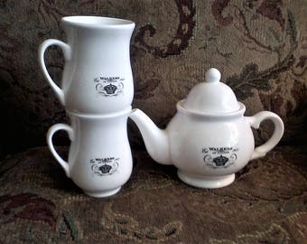 Walkers of London 1977 Teapot with Mugs, The Walking Dead, black and white tea set, teapot mug set