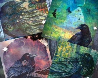 Instant Download MAGICAL RAVENS Digital Collage Sheet for Prints GreetingCards Tags Stationary Vintage Papercraft PatGullett