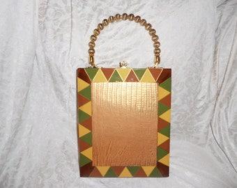 Cigarbox Purse, Snakeskin Embossed Gold Metallic Leather, Tina Marie Purse, Vintage Cigar Box