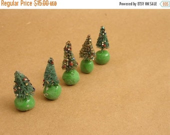 "ON SALE 5 vintage tiny bottle brush christmas trees & glitter, 1.75"" tall, the cutest!"