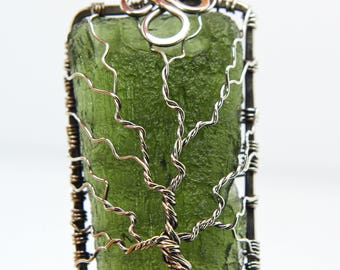 Moldavite pendant Tree of life 'Soul' sterling silver Moldavite pendant - Birthstone - yggdrasil - Family tree pendant - jewelry necklace