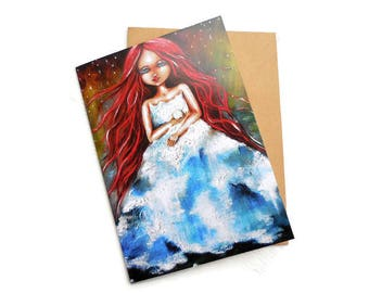 Earth Goddess Art, Mother Earth Art, Gaia Art Portrait, Mother Nature, Divine Feminine Art, Earth, Blank Greeting Card, Art Card,