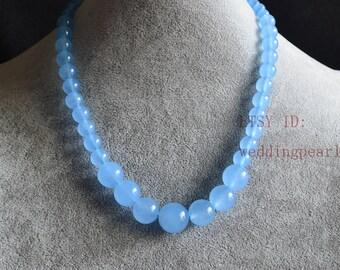 light blue jade gradually necklace, single strand jade necklace,bridesmaid necklace,women necklace,statement necklace, blue bead necklace