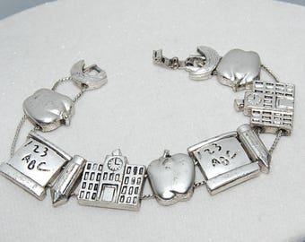 Slider charm bracelet teachers  apple alphabet charms