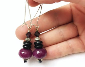 Artisan style, faceted, raspberry agate earrings on large french wires by Jules Jewelry Box