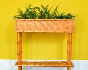 Mid-Century Bamboo Plant Stand