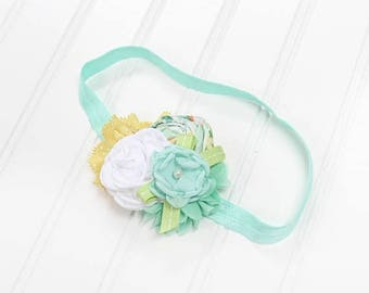 CLEARANCE 40% OFF Darling headband in fun colors of mint green, mustard yellow, celery green, white and hints of orange, aqua, and dusty blu