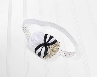 CLEARANCE 40% OFF Darling headband in fun sassy colors of black white and gold (RTS)