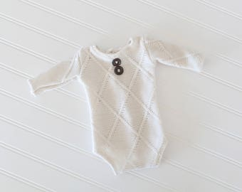 Sawyer - newborn long sleeve romper in a soft ivory cream cable knit sweater knit - great dark wood and toggle buttons (RTS)