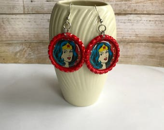 Wonder Woman Earrings, Wonder Woman Jewelry, Wonder Woman Gift, Wonder Woman Accessory, Super Hero, Wonder Woman Fan, Justice League
