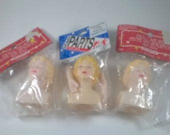 Vintage  Doll Heads Set of Three  - Sleeping Lady and Eyes Open with Arms