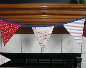 Red, White And Blue Patriotic Themed 2 Sided Fabric Bunting