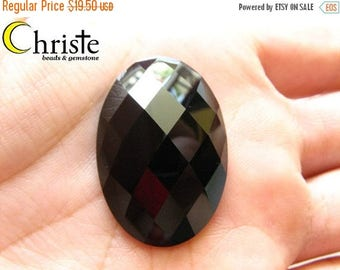 SALE Black Onyx Faceted Oval Cabochon 20x30mm
