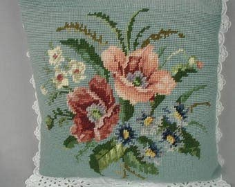 "Vintage Wool Needlepoint Pillow, Flower Bouquet, Pinks and Blue, Toss Pillow, Occasional Pillow, Hand Made, 14 1/2"" Square"