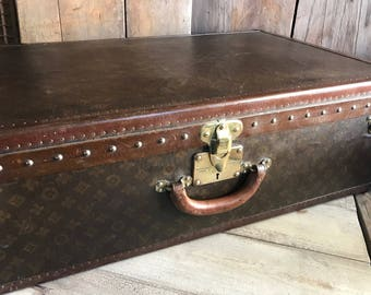 1930s French Louis Vuitton Case, Travel Luggage Trunk Suitcase, Original Label, Monogram Canvas Leather, Brass Locks, Original Makers Label