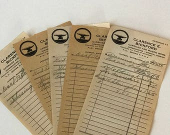 Receipts Ephemera / 5 Vintage Carriage & Wagon Work General Receipts 1930's Great for Mixed Media, Journals, Smash Books, etc.