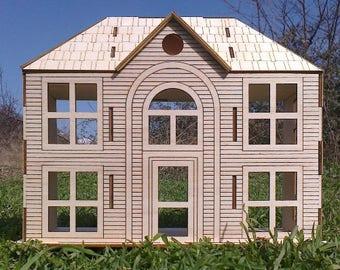 Wooden Dollhouse Victoran Small House Poplar Plywood Kit