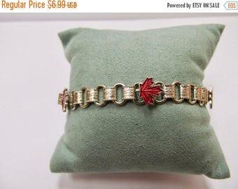 ON SALE Vintage Red Enameled Canadian Maple Leaf Bracelet Item K # 2970