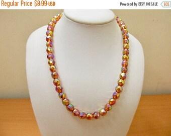 ON SALE Vintage Golden Iridescent Beaded Necklace Item K # 547