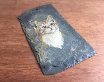 Vintage Slate Wall Hanging with Hand Painted Cat Portrait, Mid Century Kitsch, ginger tom cat, welsh slate