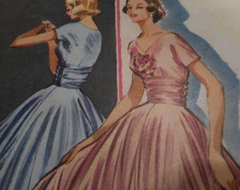 Vintage 1950's McCalls 3893 Dress for Sheer Fabrics Size 12 Bust 32 or Size 16 Bust 36