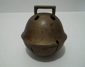 Vintage Large Brass Metal Sleigh Bell Primitive Farmhouse Horse Bells