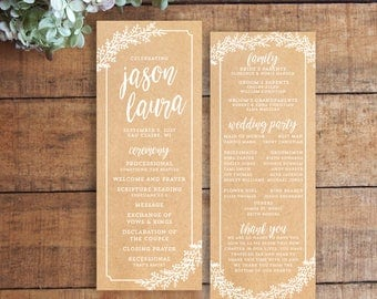 Wedding Program, Order of Service, Kraft Program, Kraft Paper Program, Rustic Program, Printable Program
