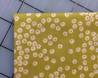 HALF YARD cut of Organic Petite Fleur- Polka Dot Daisy - in Citron by Carolyn Gavin - Organic Cotton - 39524