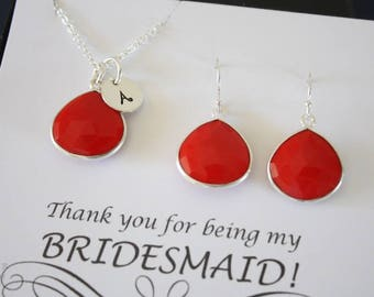 7 Monogram Bridesmaid Necklace and Earring set Coral, Bridesmaid Gift, Red Gemstone, Sterling Silver, Initial Jewelry, Personalized