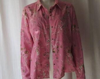 Reserved/ BenitaWestern Shirt Pink Womans Corduroy Liz Claiborne  size LARGE