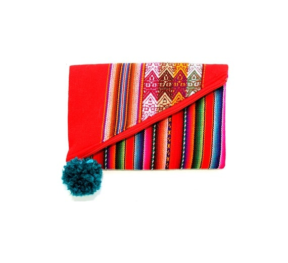 SALE! Small, clutch, red, teal pom pom Peruvian, stripes, flat bag