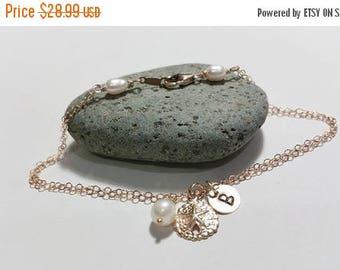 ON-SALE Gold Fill Charm Bracelet - Double Chain, Pearl - Sand Dollar - Initial Bracelet, Beach Wedding Theme, Summer Jewelry