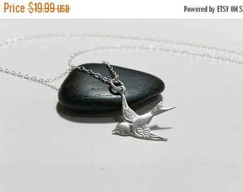 ON-SALE Soaring Sparrow Solid Sterling Silver Necklace - Flying Bird Charm, Dove Charm
