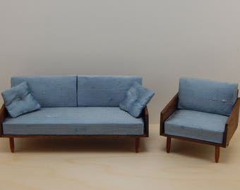 1:12 Scale Mid-Century Modern Sofa and chair.