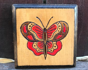 Hand Painted Wooden Butterfly Plaque