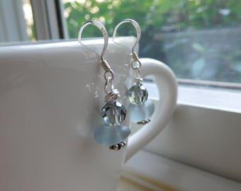 Genuine sea glass earrings.  Gray sea glass.  Beach glass.  Chic. Unaltered.