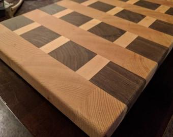 Hardwood end grain cutting board.