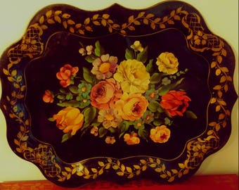 Beautiful Tole Painted Floral Tray