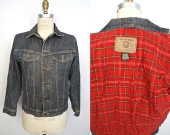 Flannel Lined Denim Jacket  / Eddie Bauer dark blue jean jacket with red cotton lining / men's small