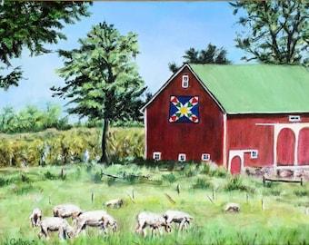 """Fine Art 11 X 14 Original Landscape Oil Painting """"Quilt Barn"""""""