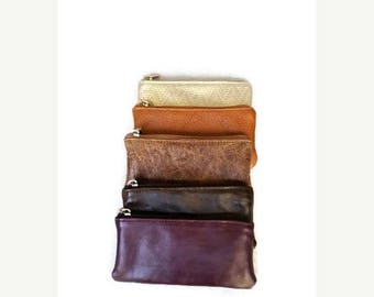 ON SALE Leather Pouch, Small Leather Purse, Mini Cosmetic Bag, Distressed Leather Purses, Coin Bag, Trendy Bags, Maria