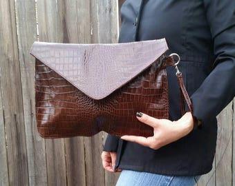 ON SALE Original Leather Clutch Bag, Evening Weekend Wristlet Purse, Fashion Trendy Handbag, Jacky