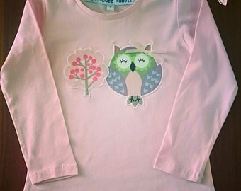 Girls Winter 100% cotton owl long sleeve top